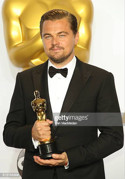 Actor Leonardo DiCaprio winner of the Best Actor in a Leading Role award for 'The Revenant' poses in the press room at the 88th Annual Academy Awards...