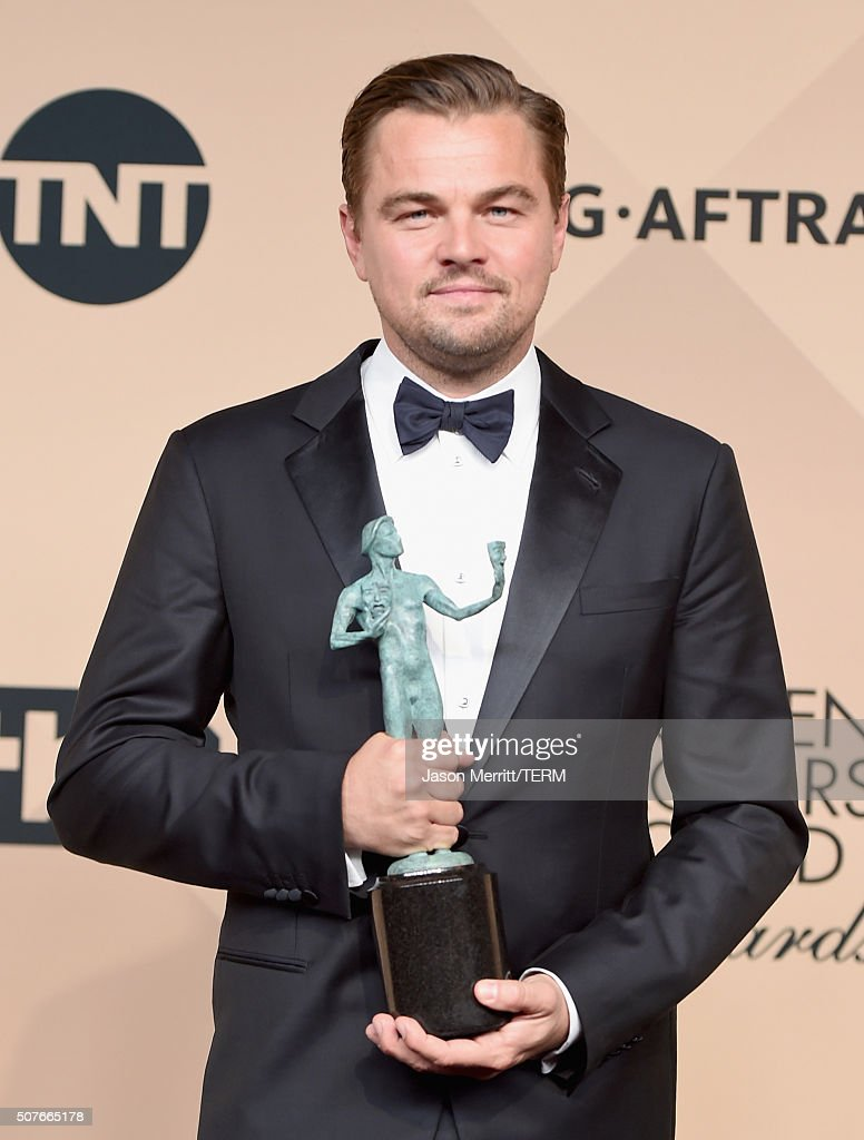 Actor Leonardo DiCaprio winner of the Male Actor in a Leading Role award for 'The Revenant' poses in the press room during The 22nd Annual Screen...
