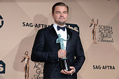 Actor Leonardo DiCaprio winner of the Outstanding Performance by a Male Actor in a Leading Role award poses in the press room during the 22nd Annual...