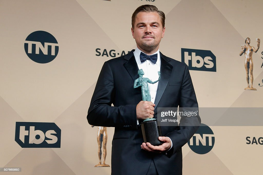 Actor Leonardo DiCaprio winner of the Outstanding Performance by a Male Actor in a Leading Role award for 'The Revenant' poses in the press room...