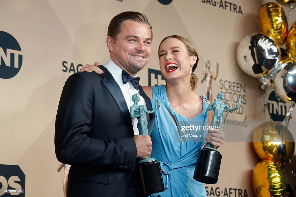 Actor Leonardo DiCaprio winner of the Outstanding Performance by a Male Actor in a Leading Role award for 'The Revenant' and actress Brie Larson...