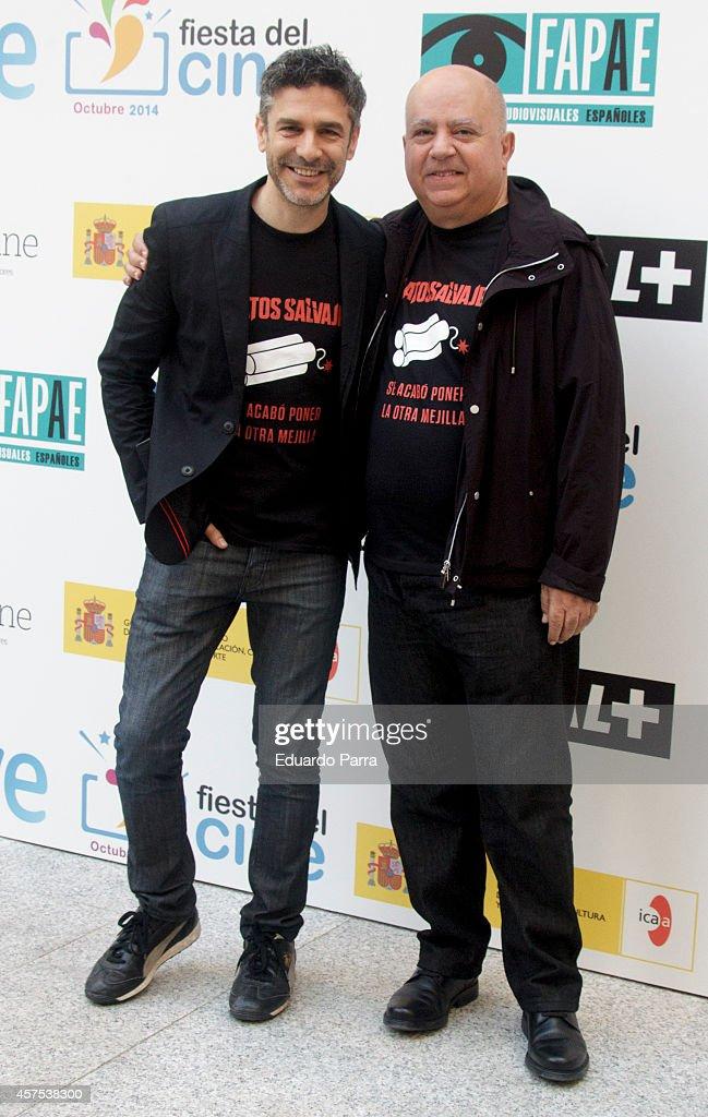 Actor Leonardo Sbaraglia and producer Agustin Almodovar attend 'La Fiesta del Cine 2014' presentation photocall at Cinema Academy on October 20 2014...