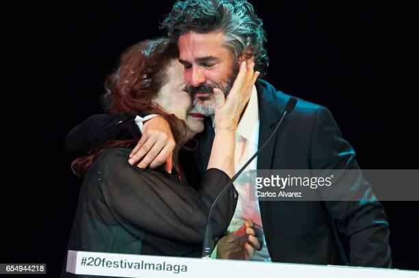 Actor Leonardo Sbaraglia receives the 'Malaga Sur' award 2017 from his mother Roxana Randon during the 20th Malaga Film Festival 2014 Day 2 at the...