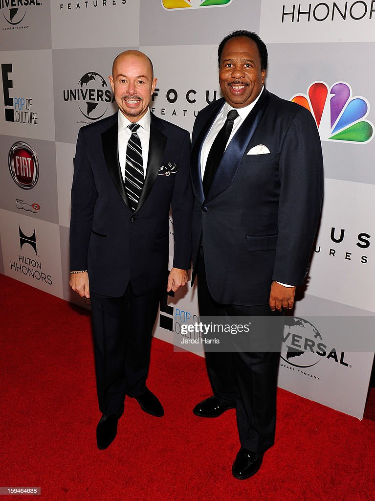 Actor Leslie David Baker (L) and guest attend the NBCUniversal Golden Globes viewing and after party held at The Beverly Hilton Hotel on January 13, 2013 in Beverly Hills, California.