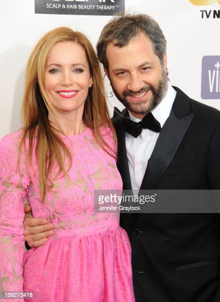 Actor Leslie Mann and her director husband Judd Apatow attend the 18th Annual Critics' Choice Awards held at Barker Hangar on January 10 2013 in...