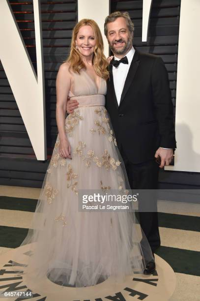 Actor Leslie Mann and writerdirector Judd Apatow attend the 2017 Vanity Fair Oscar Party hosted by Graydon Carter at Wallis Annenberg Center for the...