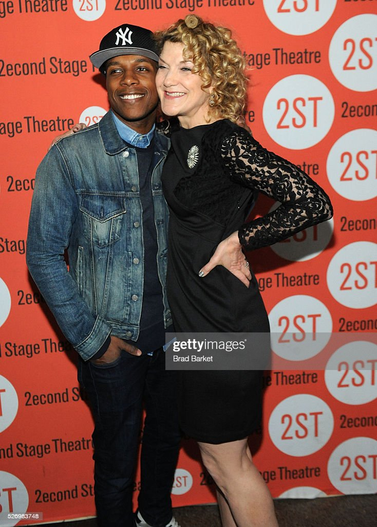 Actor Leslie Odom Jr.(L) and Victoria Clark attend 'Dear Evan Hansen' Off-Broadway opening celebration at Second Stage Theatre on May 1, 2016 in New York City.