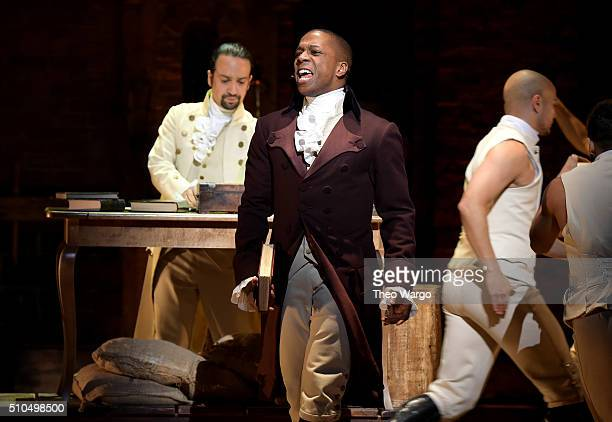 Actor Leslie Odom Jr performs on stage during 'Hamilton' GRAMMY performance for The 58th GRAMMY Awards at Richard Rodgers Theater on February 15 2016...