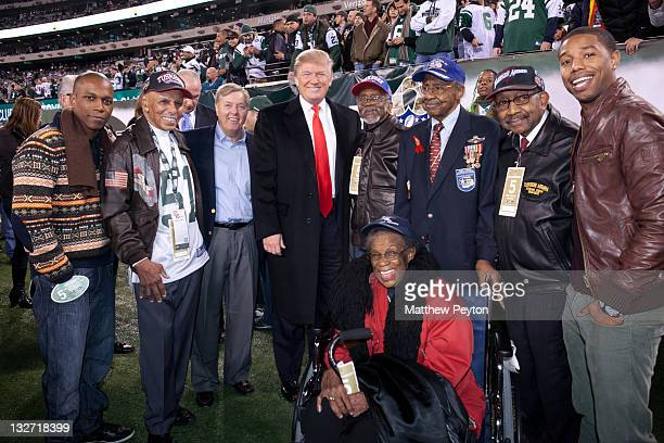 Actor Leslie Odom Jr Tuskegee Airman Dr Roscoe Brown senator Lindsey Graham Donald Trump Tuskegee Airmen Wilfred Difore Floyd Carter and Dabney Ian...