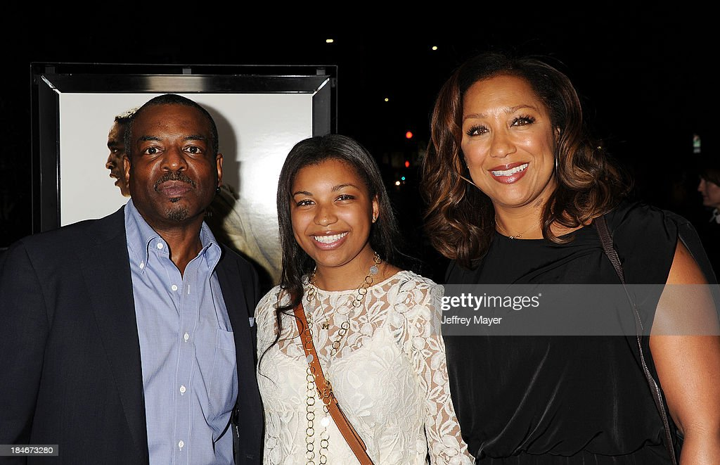 Actor <a gi-track='captionPersonalityLinkClicked' href=/galleries/search?phrase=LeVar+Burton&family=editorial&specificpeople=241259 ng-click='$event.stopPropagation()'>LeVar Burton</a>, daughter Michaela Jean Burton and wife Stephanie Cozart Burton arrive at the Los Angeles premiere of '12 Years A Slave' at Directors Guild Of America on October 14, 2013 in Los Angeles, California.