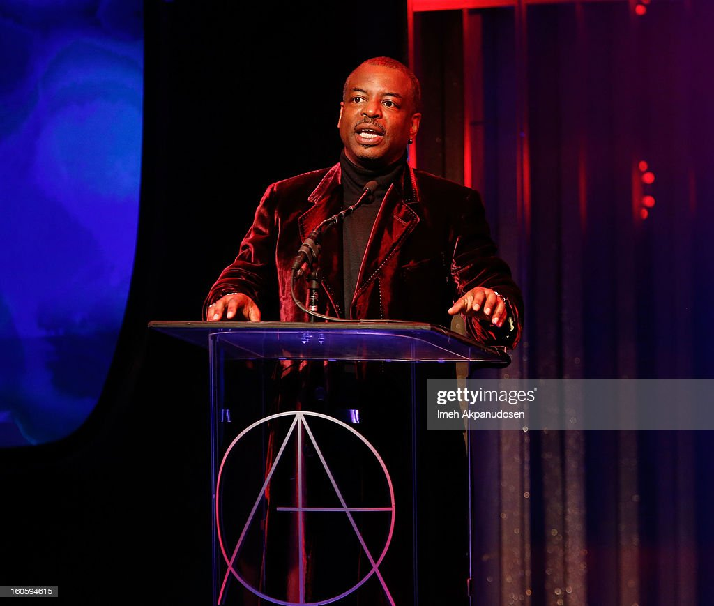 Actor <a gi-track='captionPersonalityLinkClicked' href=/galleries/search?phrase=LeVar+Burton&family=editorial&specificpeople=241259 ng-click='$event.stopPropagation()'>LeVar Burton</a> speaks onstage at the 17th Annual Art Directors Guild Awards, held at The Beverly Hilton Hotel on February 2, 2013 in Beverly Hills, California.