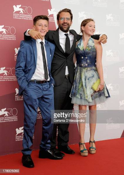 Actor Levin Liam director Rick Ostermann and actress Helena Phil attend 'Wolfskinder' Photocall during the 70th Venice International Film Festival on...