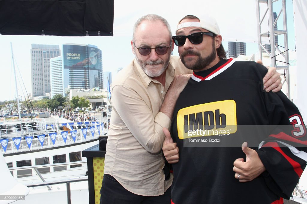Actor Liam Cunningham and host Kevin Smith on the #IMDboat at San Diego Comic-Con 2017 at The IMDb Yacht on July 22, 2017 in San Diego, California.