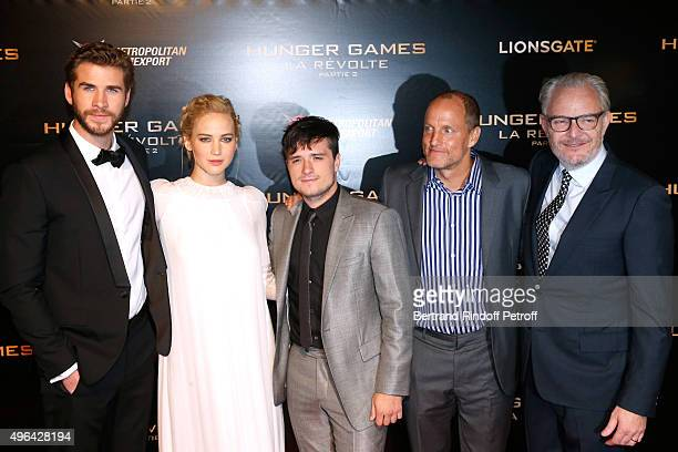 Actor Liam Hemsworth Actress Jennifer Lawrence Actor Josh Hutcherson Director Francis Lawrence and Actor Woody Harrelson attend the 'Hunger Games...