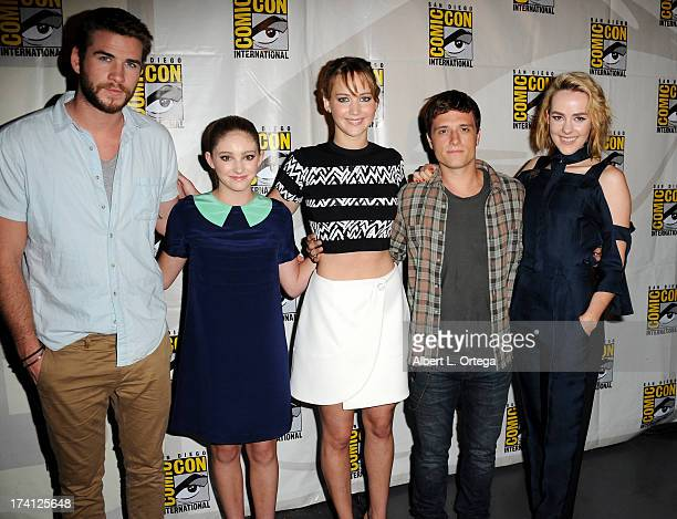Actor Liam Hemsworth actress Willow Shields actress Jennifer Lawrence actor Josh Hutcherson and actress Jena Melone appear at the Lionsgate preview...