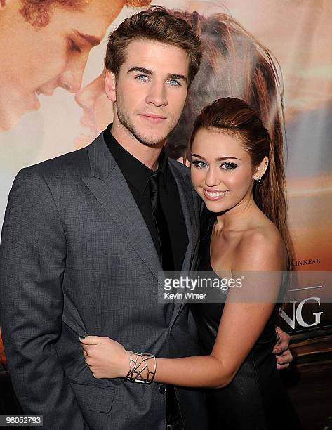Actor Liam Hemsworth and actress/singer Miley Cyrus arrive at the premiere of Touchstone Picture's 'The Last Song' held at ArcLight Hollywood on...