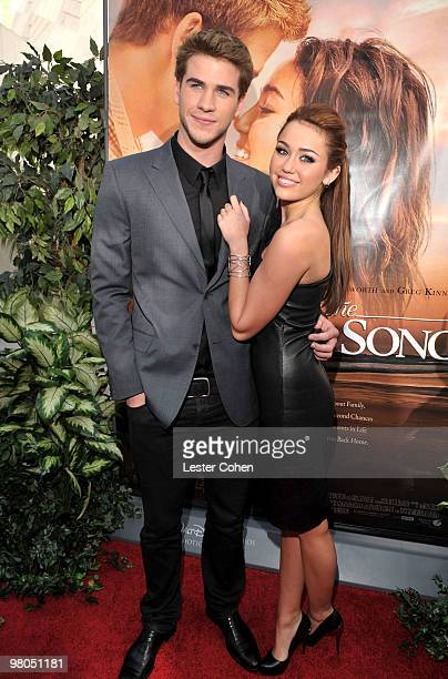 Actor Liam Hemsworth and actress/singer Miley Cyrus arrive at the 'The Last Song' Los Angeles premiere held at ArcLight Hollywood on March 25 2010 in...
