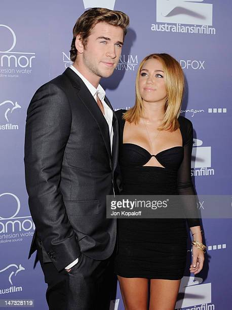 Actor Liam Hemsworth and fiance actress/singer Miley Cyrus arrive at the 8th Annual Australians In Film Breakthrough Awards at InterContinental Hotel...
