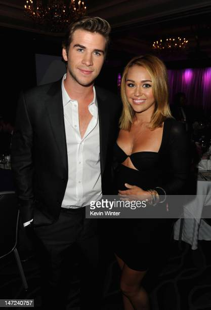 Actor Liam Hemsworth and singer Miley Cyrus attend Australians In Film Awards Benefit Dinner at InterContinental Hotel on June 27 2012 in Century...