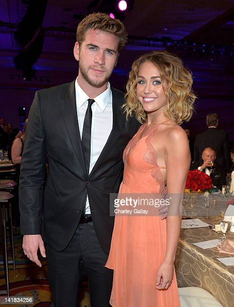 Actor Liam Hemsworth and singer/actress Miley Cyrus attend Muhammad Ali's Celebrity Fight Night XVIII held at JW Marriott Desert Ridge Resort Spa on...