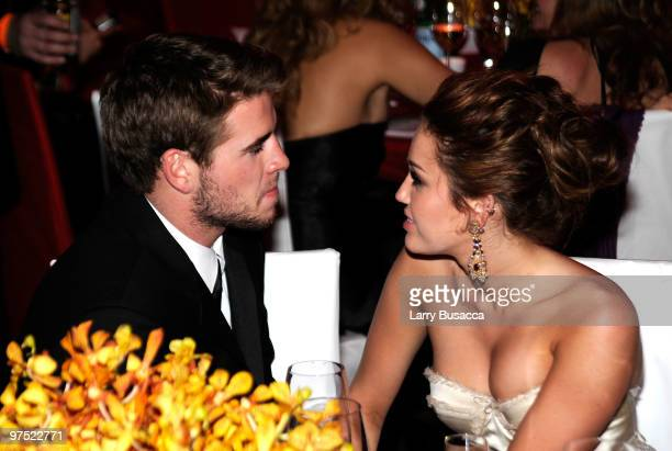 APPLY* Actor Liam Hemsworth and Singer/Actress Miley Cyrus attend the 18th Annual Elton John AIDS Foundation Academy Award Party at Pacific Design...