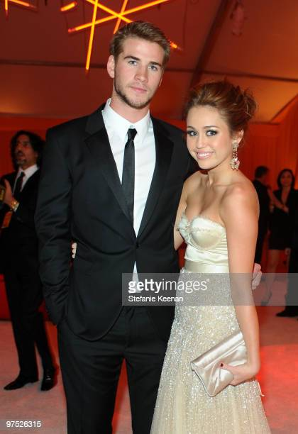 Actor Liam Hemsworth and Singer/Actress Miley Cyrus attend the 18th Annual Elton John AIDS Foundation Oscar Party at Pacific Design Center on March 7...