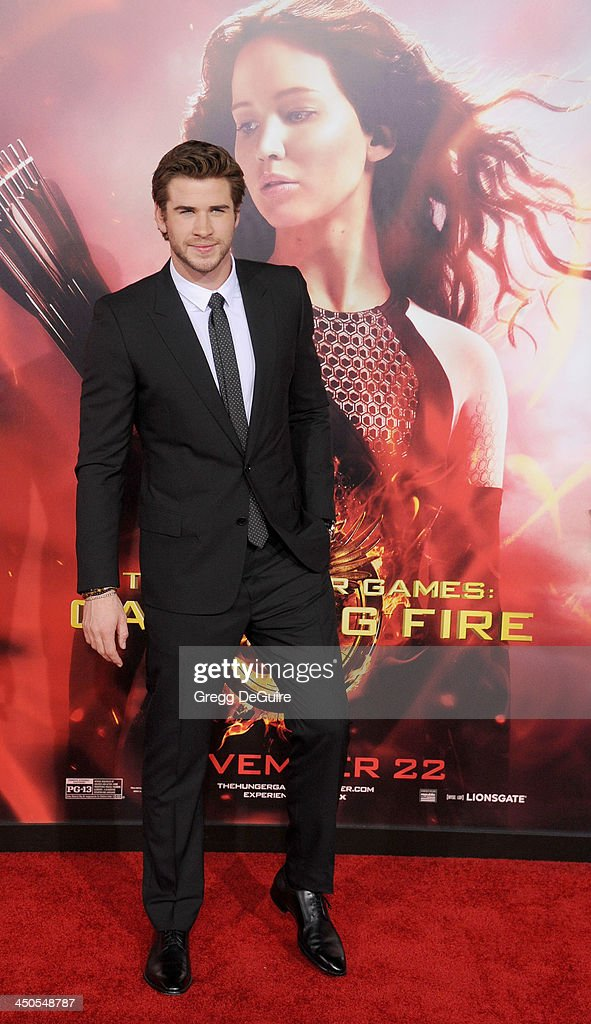 Actor <a gi-track='captionPersonalityLinkClicked' href=/galleries/search?phrase=Liam+Hemsworth&family=editorial&specificpeople=6338547 ng-click='$event.stopPropagation()'>Liam Hemsworth</a> arrives at the Los Angeles premiere of 'The Hunger Games: Catching Fire' at Nokia Theatre L.A. Live on November 18, 2013 in Los Angeles, California.