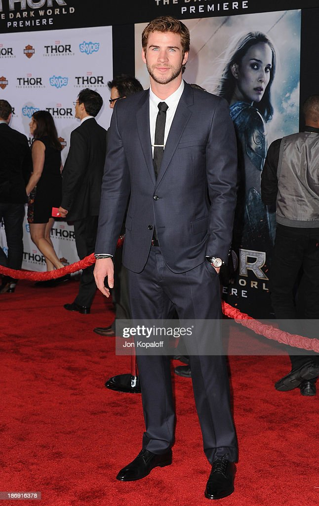 Actor Liam Hemsworth arrives at the Los Angeles Premiere 'Thor: The Dark World' at the El Capitan Theatre on November 4, 2013 in Hollywood, California.