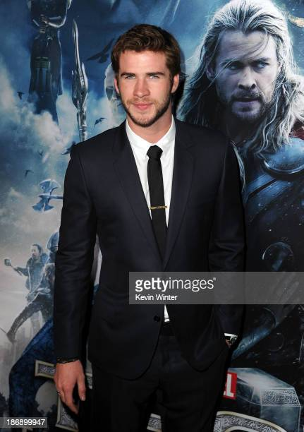 Actor Liam Hemsworth arrives at the premiere of Marvel's 'Thor The Dark World' at the El Capitan Theatre on November 4 2013 in Hollywood California