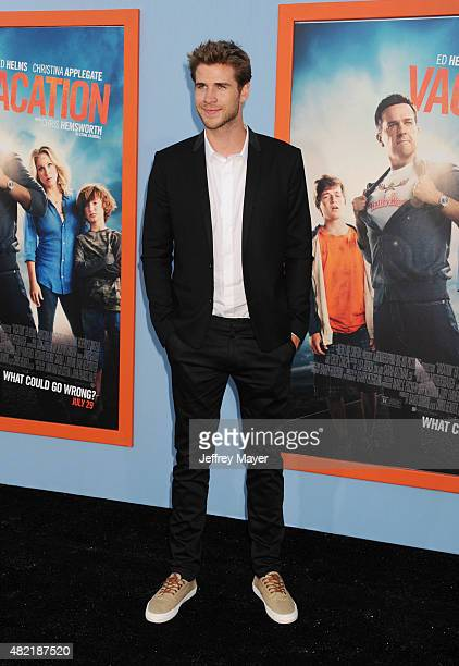 Actor Liam Hemsworth arrives at the Premiere Of Warner Bros 'Vacation' at Regency Village Theatre on July 27 2015 in Westwood California