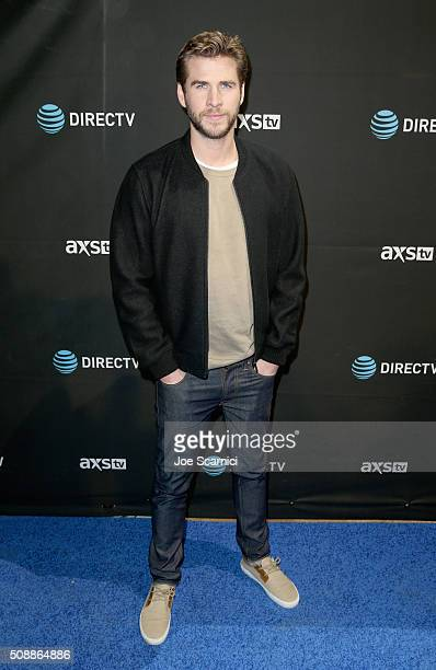 Actor Liam Hemsworth attends DirecTV Super Saturday Night Cohosted by Mark Cuban's AXS TV at Pier 70 on February 6 2016 in San Francisco California
