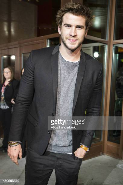 Actor Liam Hemsworth attends the 'Hunger Games Catching Fire' Knoxville Screening at Regal Pinnacle Stadium 18 on November 19 2013 in Knoxville...