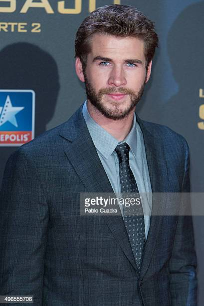 Actor Liam Hemsworth attends 'The Hunger Games Mockingjay Part 2' premiere at Kinepolis cinema on November 10 2015 in Madrid Spain
