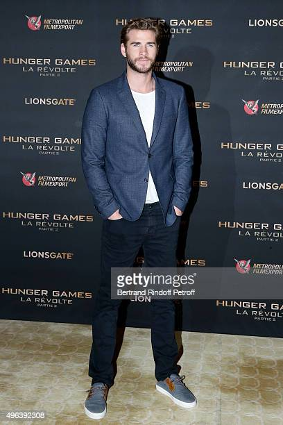 Actor Liam Hemsworth attends the 'Hunger Games Mockingjay Part 2' Paris Photocall at Plazza Athenee on November 9 2015 in Paris France