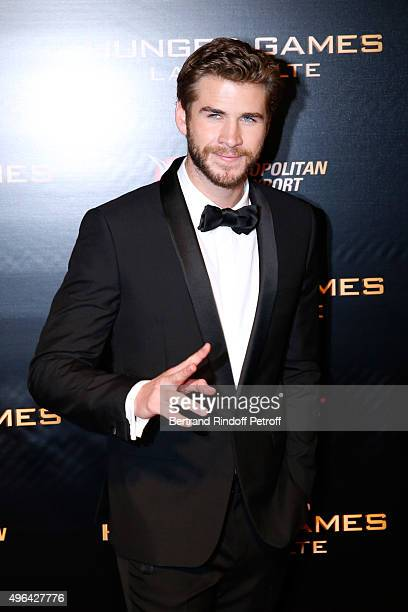 Actor Liam Hemsworth attends the 'Hunger Games Mockingjay Part 2' Paris Premiere at Le Grand Rex on November 9 2015 in Paris France