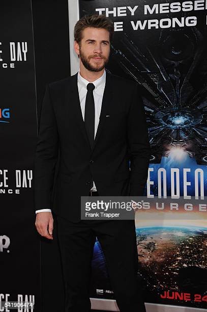 Actor Liam Hemsworth attends the premiere of 20th Century Fox's 'Independence Day Resurgence' held at The TCL Chinese Theater on June 20 2016 in...