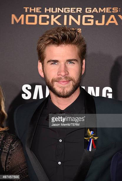 Actor Liam Hemsworth attends the premiere of Lionsgate's 'The Hunger Games Mockingjay Part 2' at Microsoft Theater on November 16 2015 in Los Angeles...