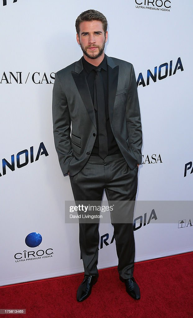 Actor <a gi-track='captionPersonalityLinkClicked' href=/galleries/search?phrase=Liam+Hemsworth&family=editorial&specificpeople=6338547 ng-click='$event.stopPropagation()'>Liam Hemsworth</a> attends the premiere of Relativity Media's 'Paranoia' at the DGA Theater on August 8, 2013 in Los Angeles, California.