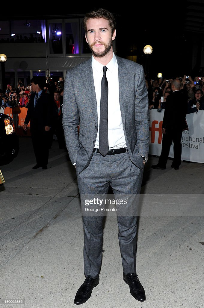 Actor <a gi-track='captionPersonalityLinkClicked' href=/galleries/search?phrase=Liam+Hemsworth&family=editorial&specificpeople=6338547 ng-click='$event.stopPropagation()'>Liam Hemsworth</a> attends the 'Rush' premiere during the 2013 Toronto International Film Festival at Roy Thomson Hall on September 8, 2013 in Toronto, Canada.