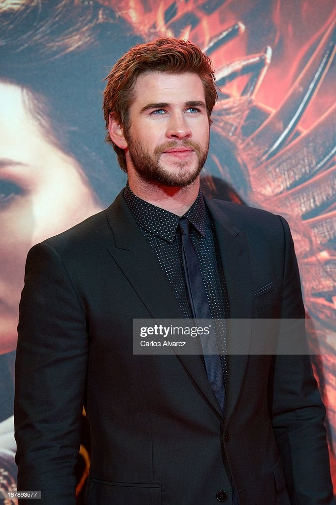 Actor <a gi-track='captionPersonalityLinkClicked' href=/galleries/search?phrase=Liam+Hemsworth&family=editorial&specificpeople=6338547 ng-click='$event.stopPropagation()'>Liam Hemsworth</a> attends the Spanish premiere of the film 'The Hunger Games - Catching Fire' (Los Juegos Del Hambre: En Llamas) at the Callao cinema on November 13, 2013 in Madrid, Spain.