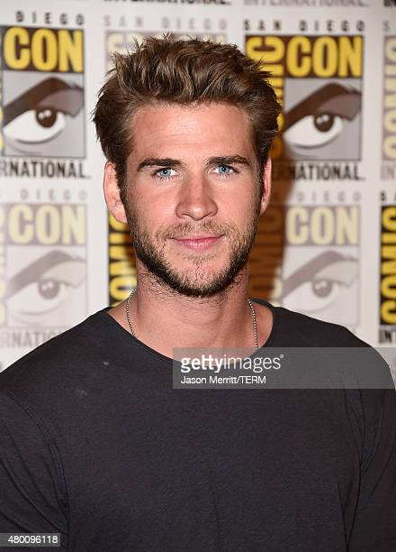 Actor Liam Hemsworth of 'The Hunger Games Mockingjay Part 2' attends the Lionsgate press room during ComicCon International 2015 at the Hilton...