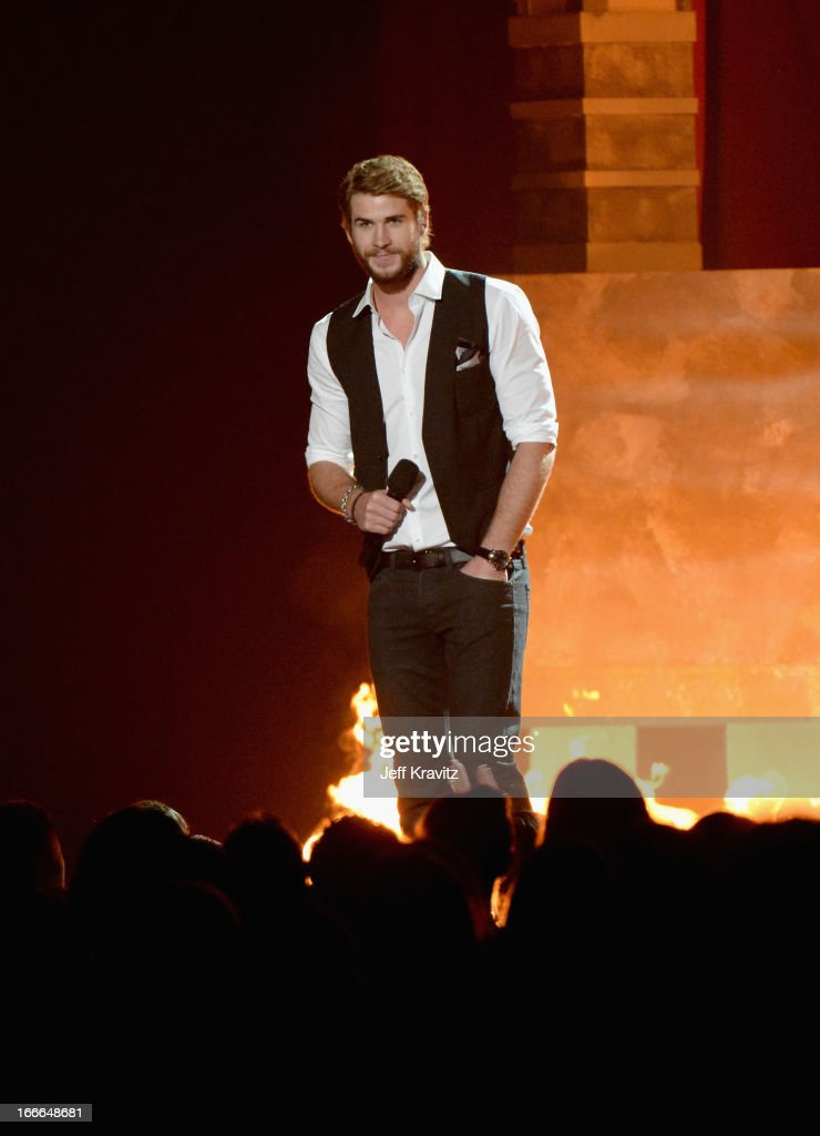 Actor Liam Hemsworth onstage during the 2013 MTV Movie Awards at Sony Pictures Studios on April 14, 2013 in Culver City, California.