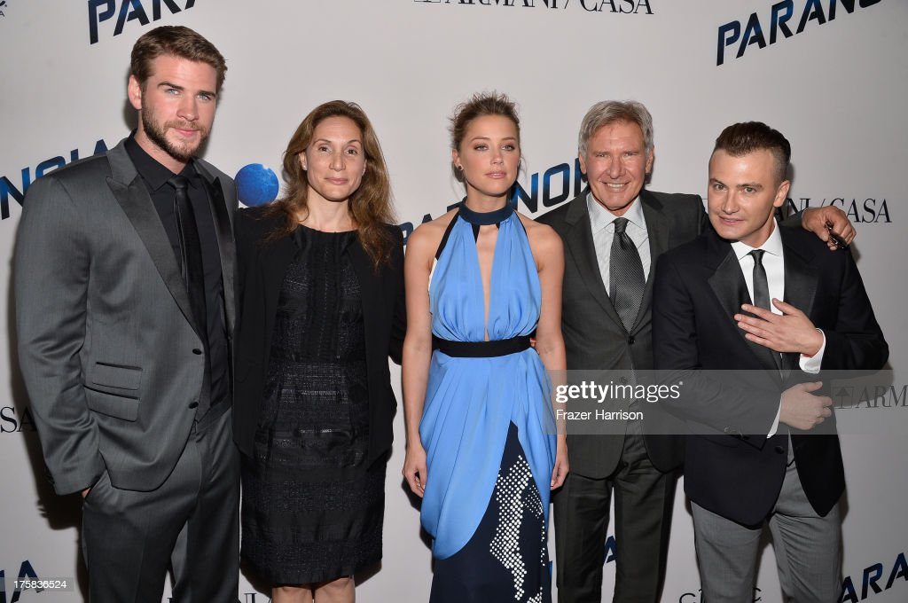 Actor <a gi-track='captionPersonalityLinkClicked' href=/galleries/search?phrase=Liam+Hemsworth&family=editorial&specificpeople=6338547 ng-click='$event.stopPropagation()'>Liam Hemsworth</a>, producer Alexandra Milchan, actors <a gi-track='captionPersonalityLinkClicked' href=/galleries/search?phrase=Amber+Heard&family=editorial&specificpeople=2210577 ng-click='$event.stopPropagation()'>Amber Heard</a>, actor <a gi-track='captionPersonalityLinkClicked' href=/galleries/search?phrase=Harrison+Ford+-+Actor+-+Born+1942&family=editorial&specificpeople=11508906 ng-click='$event.stopPropagation()'>Harrison Ford</a> and director <a gi-track='captionPersonalityLinkClicked' href=/galleries/search?phrase=Robert+Luketic&family=editorial&specificpeople=2471533 ng-click='$event.stopPropagation()'>Robert Luketic</a> attend the premiere of Relativity Media's 'Paranoia' at DGA Theater on August 8, 2013 in Los Angeles, California.