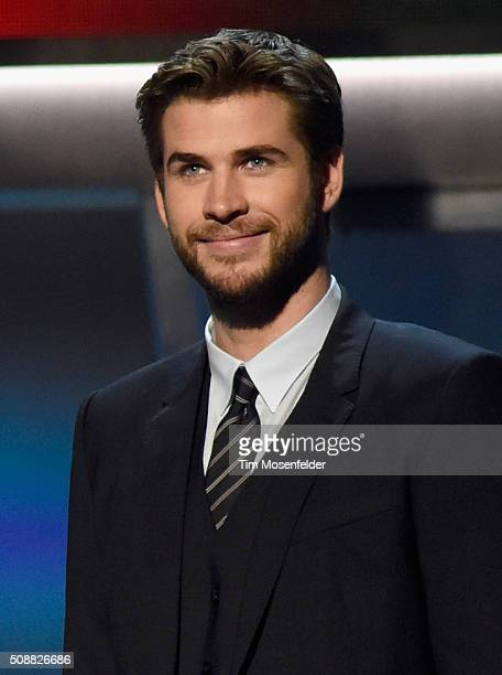 Actor Liam Hemsworth speaks onstage during the 5th Annual NFL Honors at Bill Graham Civic Auditorium on February 6 2016 in San Francisco California