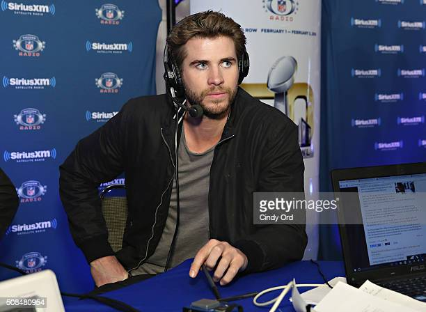 Actor Liam Hemsworth visits the SiriusXM set at Super Bowl 50 Radio Row at the Moscone Center on February 4 2016 in San Francisco California