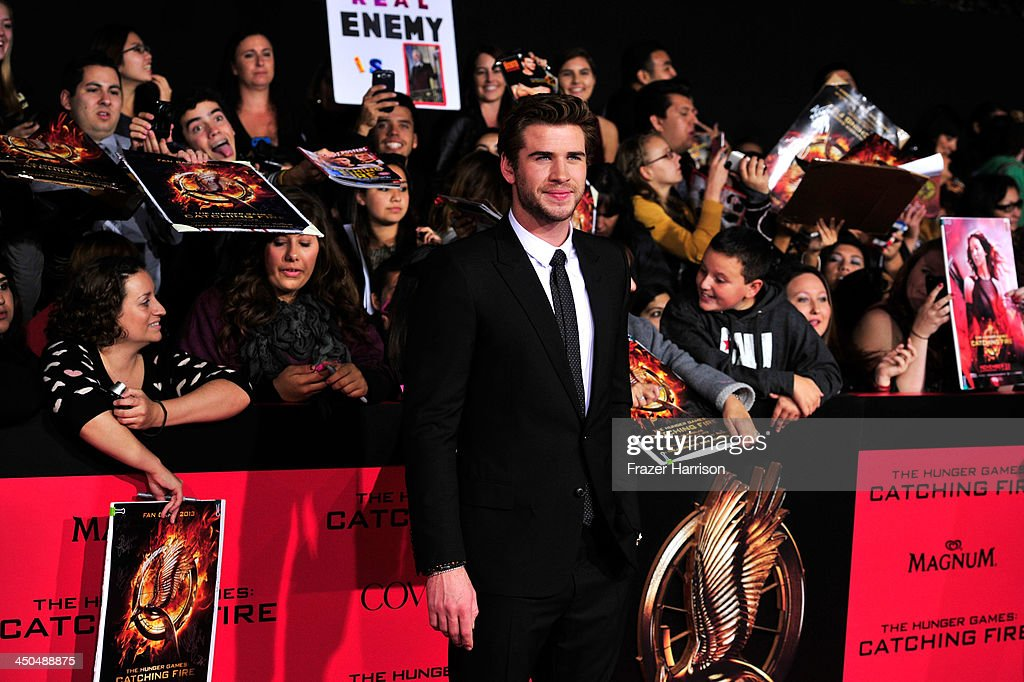 Actor Liam Hensworth attends the premiere of Lionsgate's 'The Hunger Games: Cathching Fire' at Nokia Theatre L.A. Live on November 18, 2013 in Los Angeles, California.