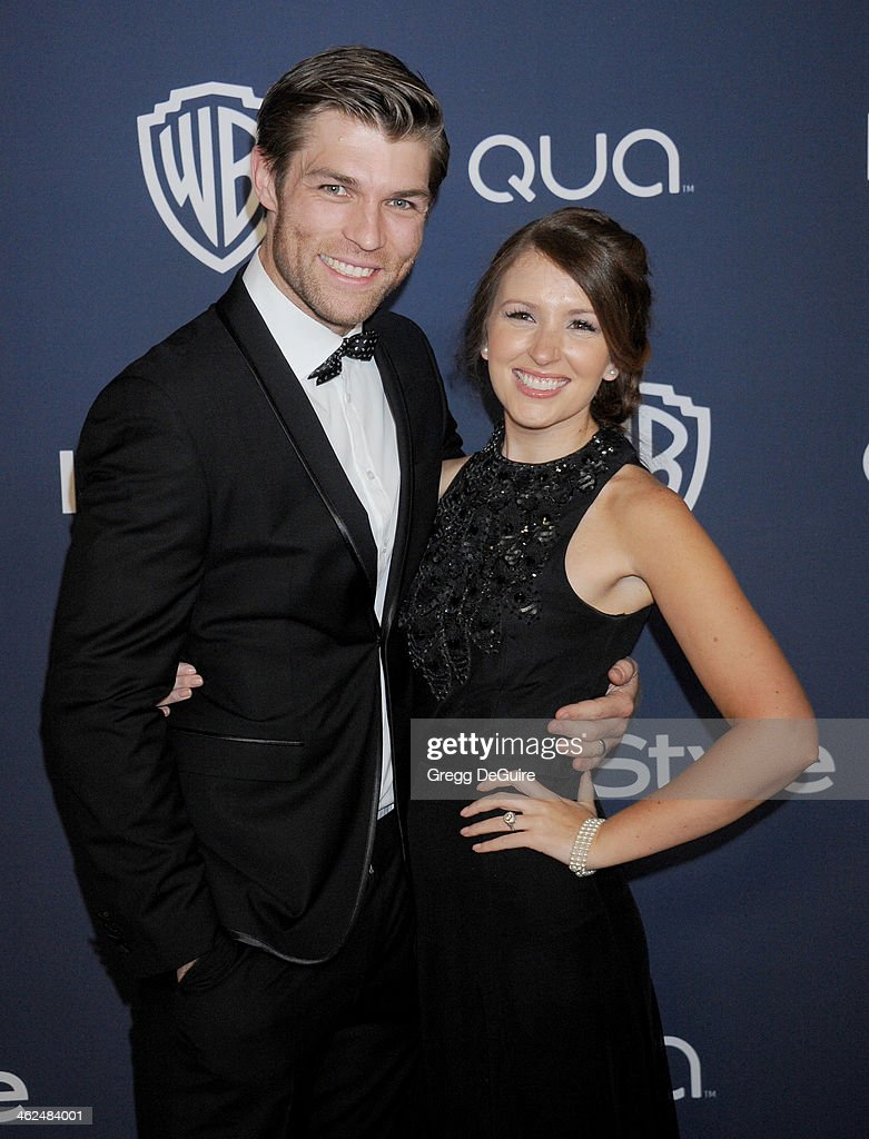 Actor Liam McIntyre and Erin Hasan arrive at the 2014 InStyle And Warner Bros. 71st Annual Golden Globe Awards post-party at The Beverly Hilton Hotel on January 12, 2014 in Beverly Hills, California.