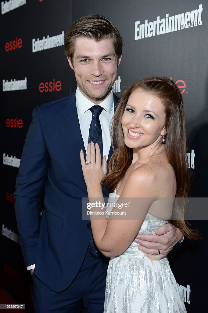 Actor Liam McIntyre (L) and singer Erin Hasan attend the Entertainment Weekly celebration honoring this year's SAG Awards nominees sponsored by TNT & TBS and essie at Chateau Marmont on January 17, 2014 in Los Angeles, California.