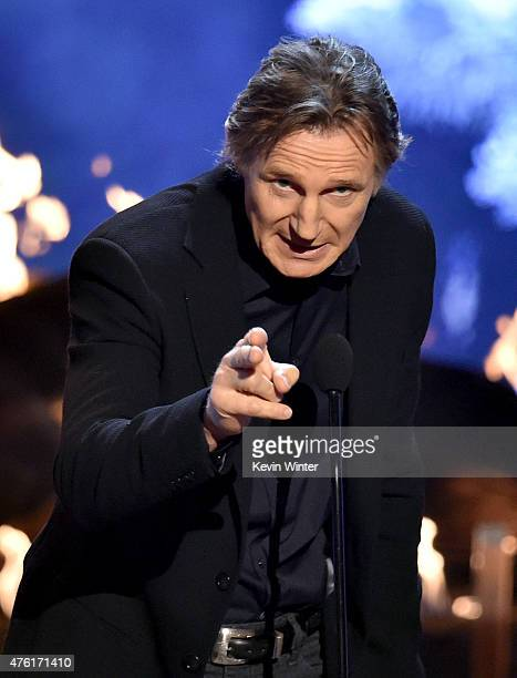 Actor Liam Neeson accepts the Biggest Ass Kicker award onstage during Spike TV's Guys Choice 2015 at Sony Pictures Studios on June 6 2015 in Culver...