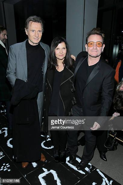 Actor Liam Neeson activist Ali Hewson and music artist Bono pose backstage during the Edun Fall 2016 fashion show during New York Fashion Week on...